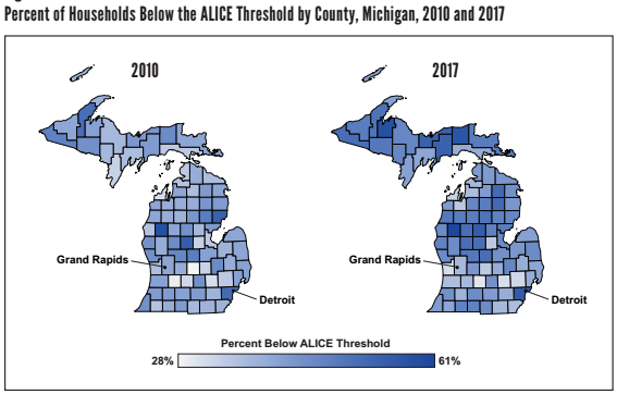 Map of Michigan counties by ALICE score, 2010 and 2017