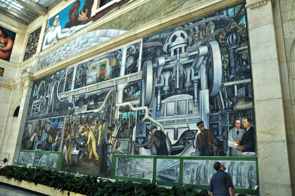 photo of Diego Rivera mural in the atrium of the Detroit Institute of Arts in Detroit, MI