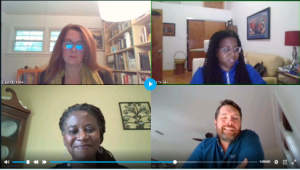 Image showing panelists and moderator on a video call. Upper Left Corner: Helen Johnson, Upper Right Corner: Regina Bell, Lower Left Corner: Freyja Harris, Lower Right Corner: Michael Shaw
